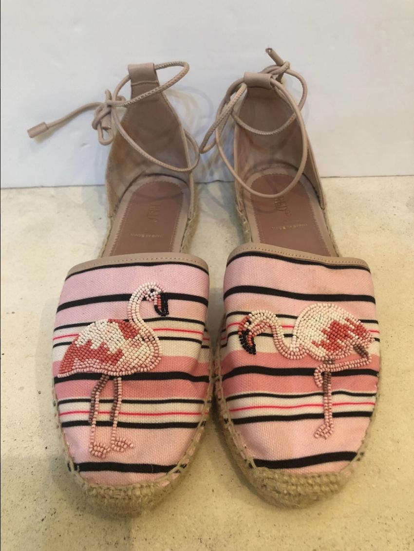 Red Valentino Flamingo Ankle Wrap Stripped Pink & White Espadrilles