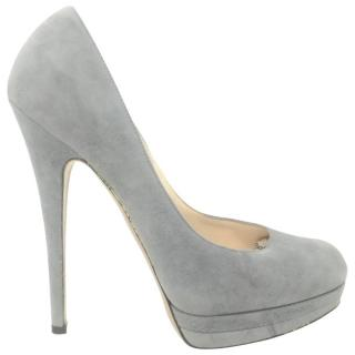 Casadei Grey Suede Pumps