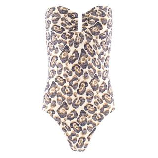Eres Abstract Leopard Print Bandeau Swimsuit