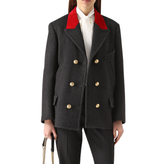 Dolce & Gabbana Wool & Velvet Double Breasted Coat