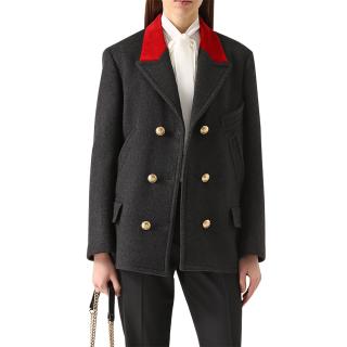 Dolce & Gabbana Wool & Velvet Double Breasted Coat