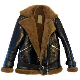 079597d6fe2e All Saints patent leather fur aviator jacket