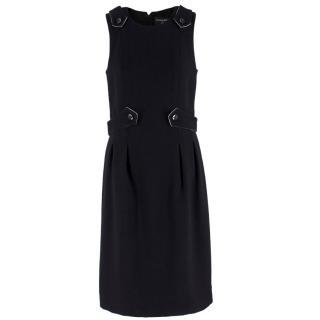 Chanel Vintage Black Buckle Embellished Wool Dress