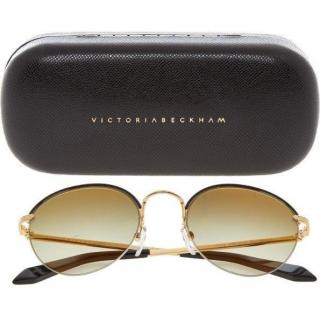 Victoria Beckham Brown and Gold Tinted Sunglasses