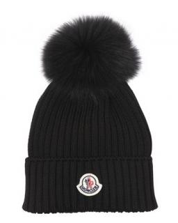 Moncler Wool Knit Hat W/ Fox Fur Pom Pom