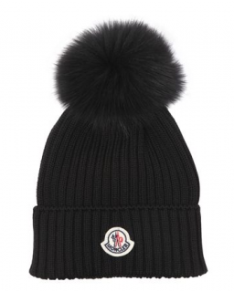 Moncler Wool Knit Hat W/ Fox Fur Pom Pom