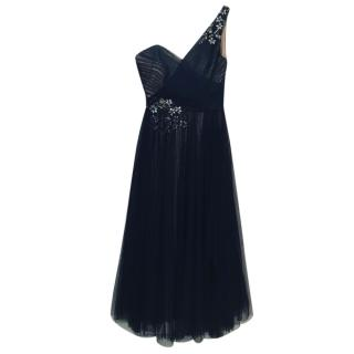 Marchesa Notte One-Shoulder Embroidered Tulle Dress.