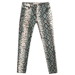 Sandro green, black & white snake print slim fit stretch jeans