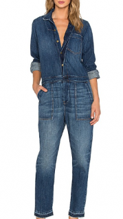 Current/Elliott The Basic Jailbird Overall in Blue Denim