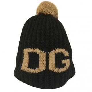 Dolce & Gabbana wool pom pom hat in black