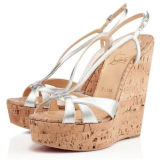 Christian Louboutin Silver Wedgy Lady 140 Sandals