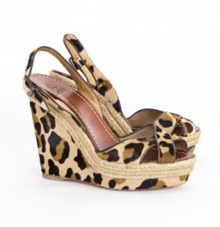 Christian Louboutin Leopard Print Espadrille Wedge Sandals