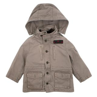 Bonpoint Boy's Khaki Fleece Lined Hooded Coat