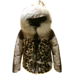 Moncler Limited Edition Fox & Raccoon Fur Leopard Print Jacket