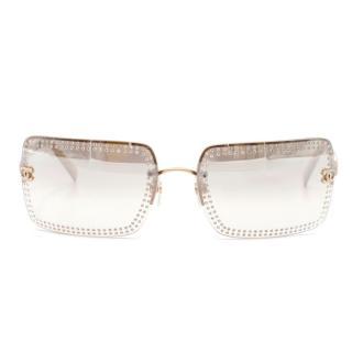 Chanel Rectangular Rhinestone Framed Sunglasses