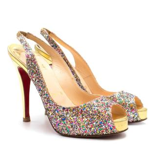 Christian Louboutin Multi-coloured Glitter Peep-toe Sandals