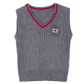Pinetti Boy's Grey Cable Knit Wool Vest