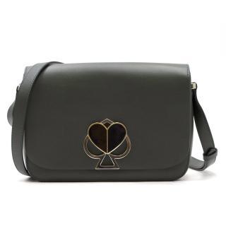 Kate Spade Deep Green Spade Turnlock Leather Crossbody Bag