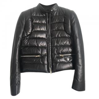 Prada leather puffer jacket