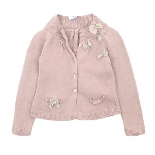 Tartine Et Chocolat Blush Pink Cardigan with Bows