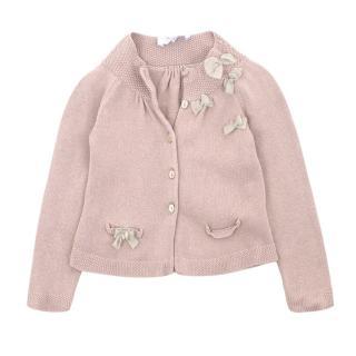 Tartine Et Chocolat Blush Pink Cardigan with Bows