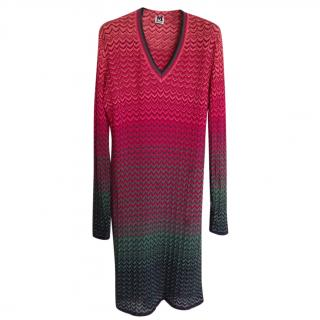 M Missoni long sleeeve,wool mid-length dress