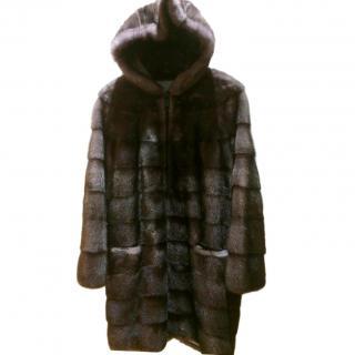 Sam-Rone Paris Charcoal Grey Hooded Mink Coat