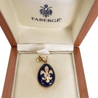 Faberge 0.02ct Diamond & Gold Egg Pendant