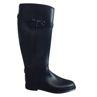 Burberry Leather-Trimmed Wellington Boots.