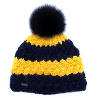 McBurn Striped Wool-blend & Fox Fur Bobble Hat