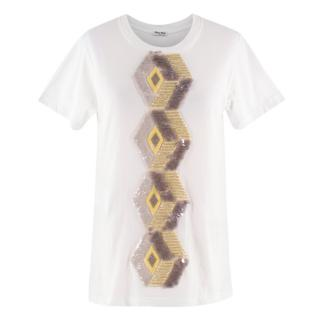 Miu Miu Abstract Sequin Embellished T-Shirt