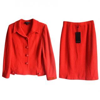 St.John china red knit jacket and skirt