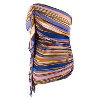 Missoni Striped One-shoulder Ruffle Detail Top