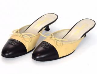 Chanel Cap-Toe Kitten Heel Mules