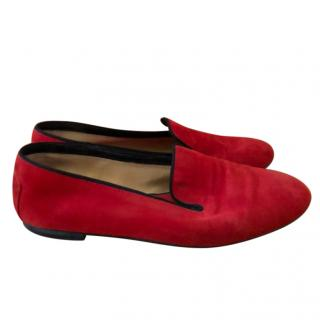 Tod's Red Suede Smoking Slippers