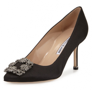 Manolo Blahnik Black Satin Hangisi 70mm Pumps