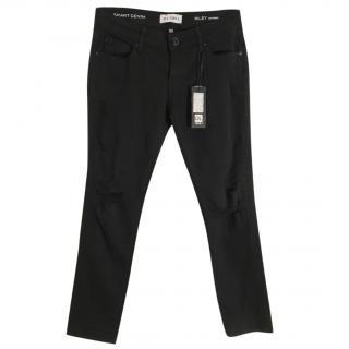 DL1961 Riley black stretchy destructed boyfriend jeans