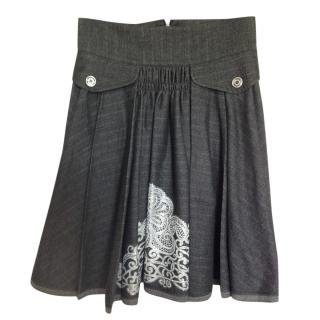 Just Cavalli dark grey full silver printed skirt