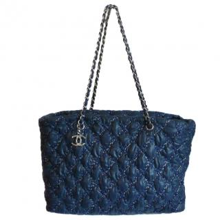 Chanel Blue Nylon Quilted Tote Bag