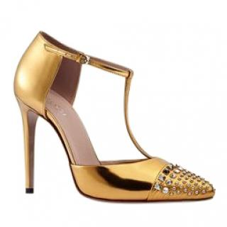 Gucci Studded Gold Metallic Leather T-Strap Pumps