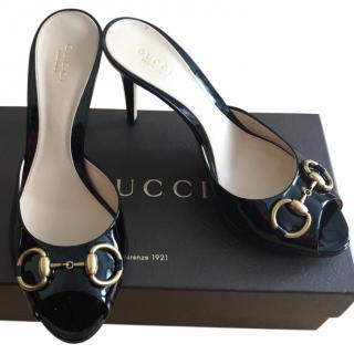 Gucci Black Patent Peep Toe Horsebit Mules