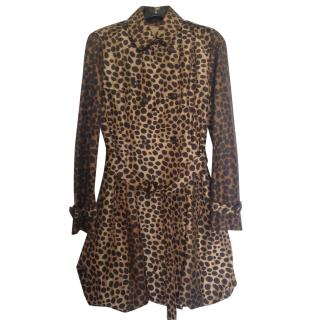 Moschino Cheap & Chic Leopard Print Silk Trenchcoat