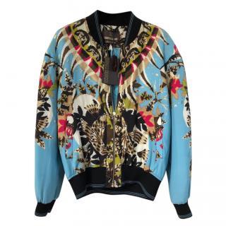 Roberto Cavalli Blue Printed Silk Jacket