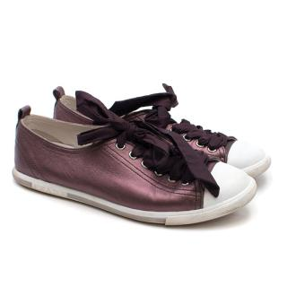 Prada Purple Metallic Lace-up Sneakers