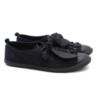 Prada Navy Suede Lace-up Sneakers