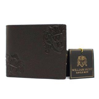 Wlliam Hunt Dark Brown Grained-Leather Bifold Wallet
