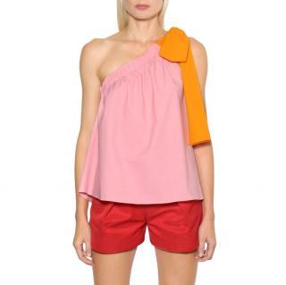 MSGM Pink and Orange One Shoulder Top