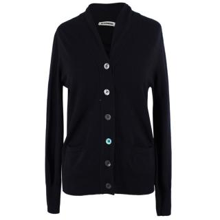 Jil Sander Black Wool-blend Cardigan