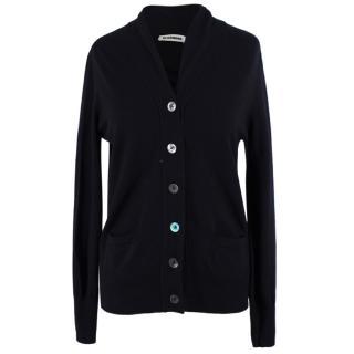 Jil Sander Black Wool-blend Cardigan