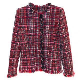 Alexander McQueen Frayed Tweed Blazer